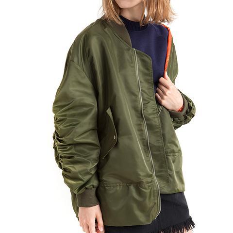 Oversize Ruched Sleeve Olive Bomber Jacket