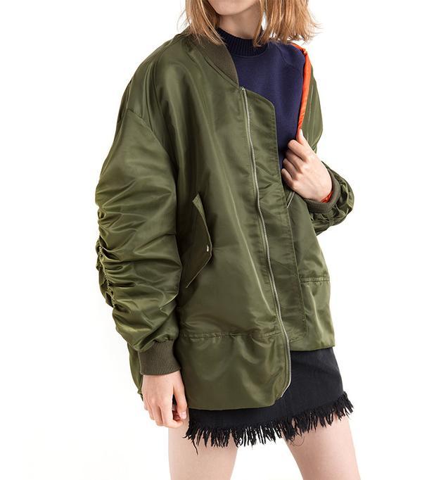 Pixie Market Oversize Ruched Sleeve Olive Bomber Jacket