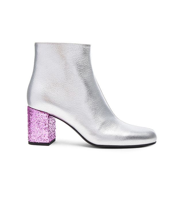 Saint Laurent Metallic Leather and Glitter Booties
