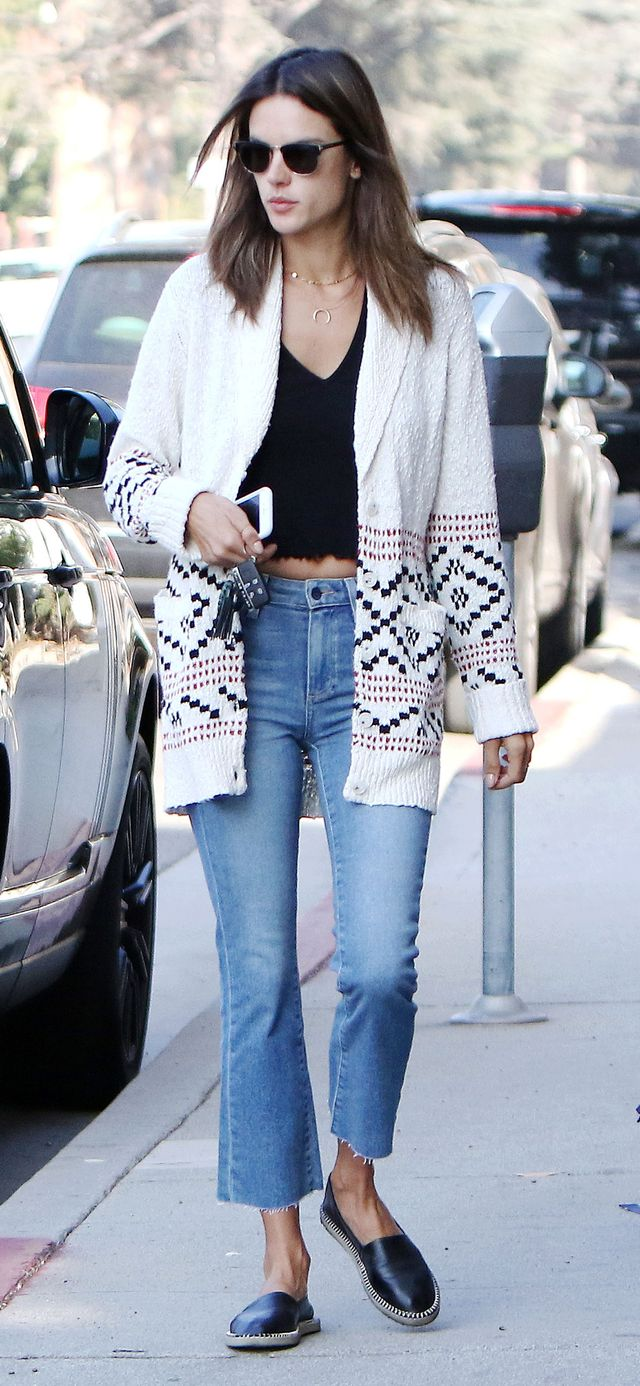 Alessandra Ambrosio Paige Felicity Cardigan and Colette Crop Flare jeans