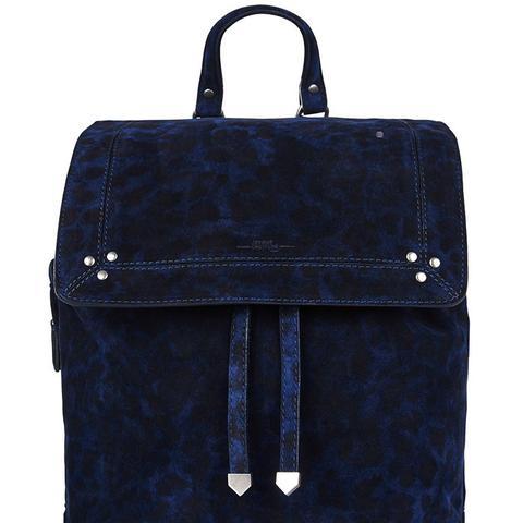 Navy Suede Leopard Florent Backpack