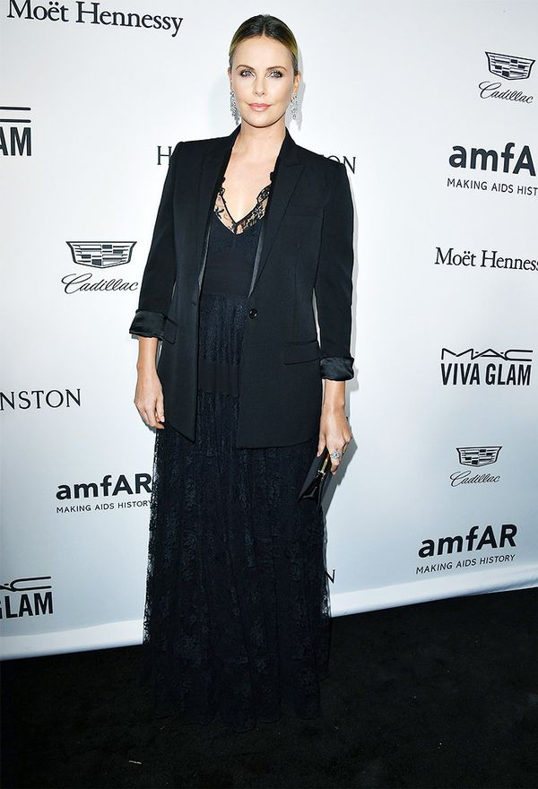 WHO: Charlize Theron WEAR: Dior dress; Harry Winston jewelry.