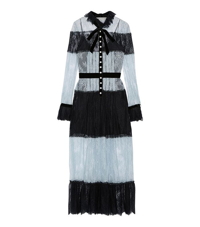 Philosophy di Lorenzo Serafini Pussy-Bow Velvet-Trimmed Lace Dress