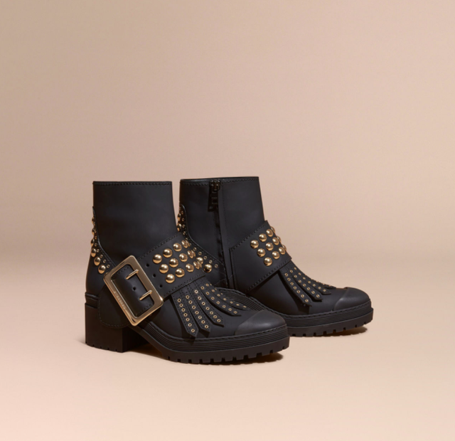 Burberry Buckle Boots in Rubberized Leather