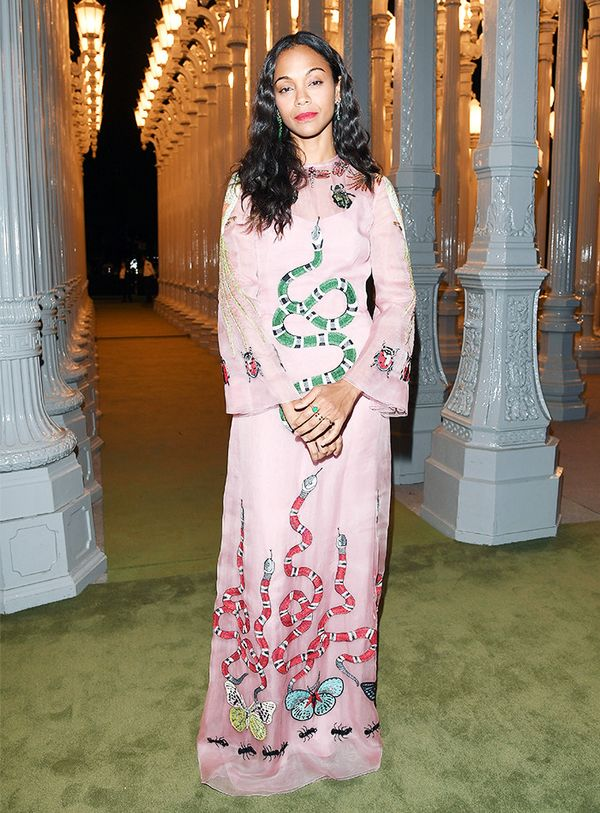 WHO: Zoe Saldana WEAR: Gucci Embroidered Silk Organdy Gown($19,000);Irene Neuwirth jewelry.