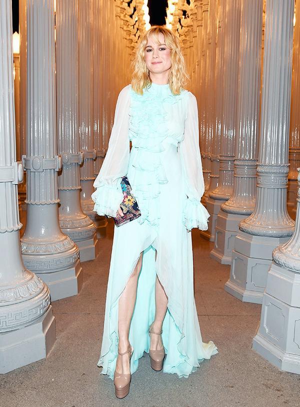 WHO: Brie Larson WEAR: Gucci Ruffled Chiffon Gown.
