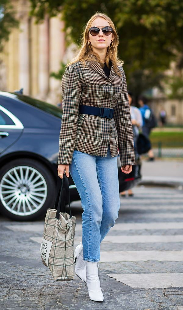 This is the ultimate cool-girl uniform—plaid blazer (with belt), cropped jeans, and white ankle boots.
