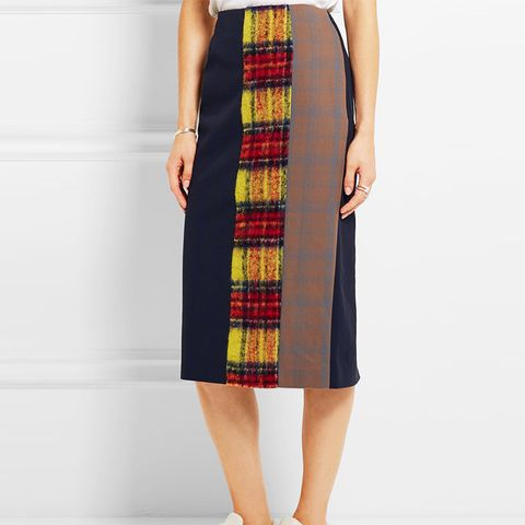 Polina Patchwork Checked Wool-Blend Pencil Skirt