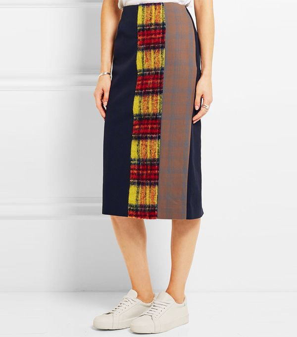 Acne Studios Polina Patchwork Checked Wool-Blend Pencil Skirt