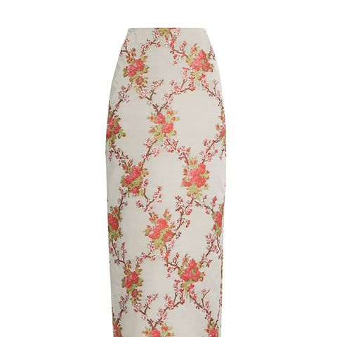 Snow Blossom-Jacquard Pencil Skirt