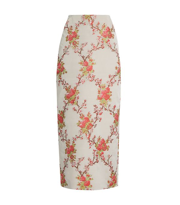 Brock Collection Snow Blossom-Jacquard Pencil Skirt