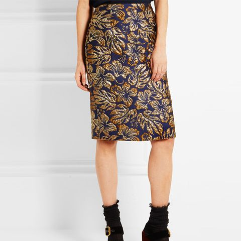 Metallic Floral-Jacquard Pencil Skirt
