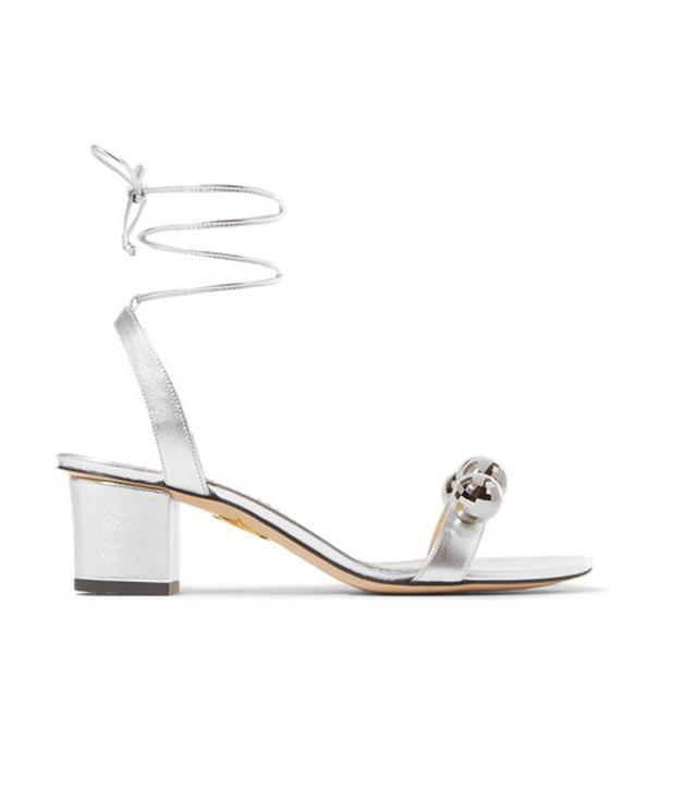 Charlotte Olympia Tara Embellished Metallic Leather Sandals