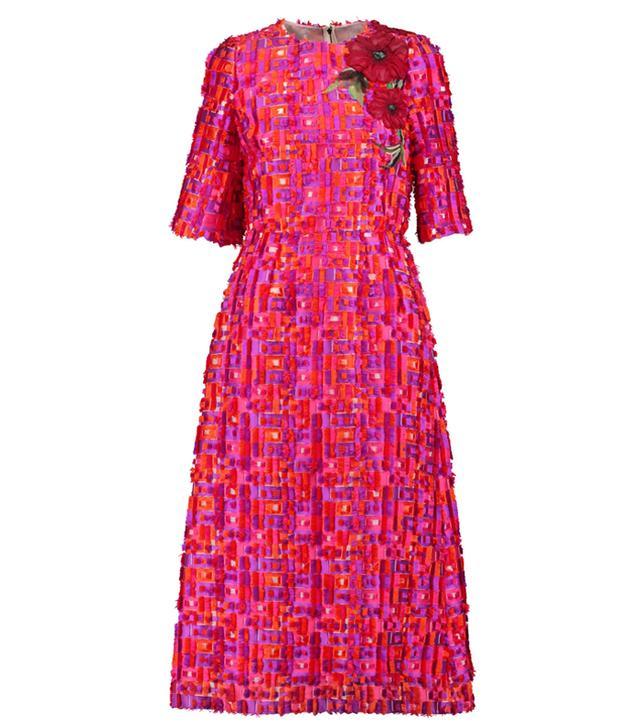 Dolce & Gabbana Embroidered Fil-Coupé Woven Midi Dress