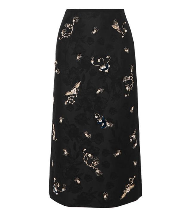 Erdem Maira Embroidered Cotton-Blend Jacquard Pencil Skirt