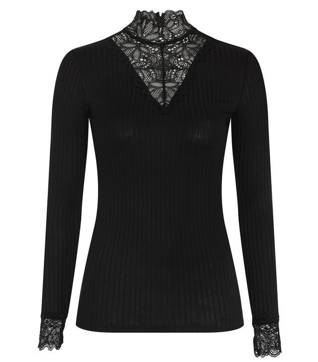 Topshop High-Neck Long-Sleeve Lace T-Shirt