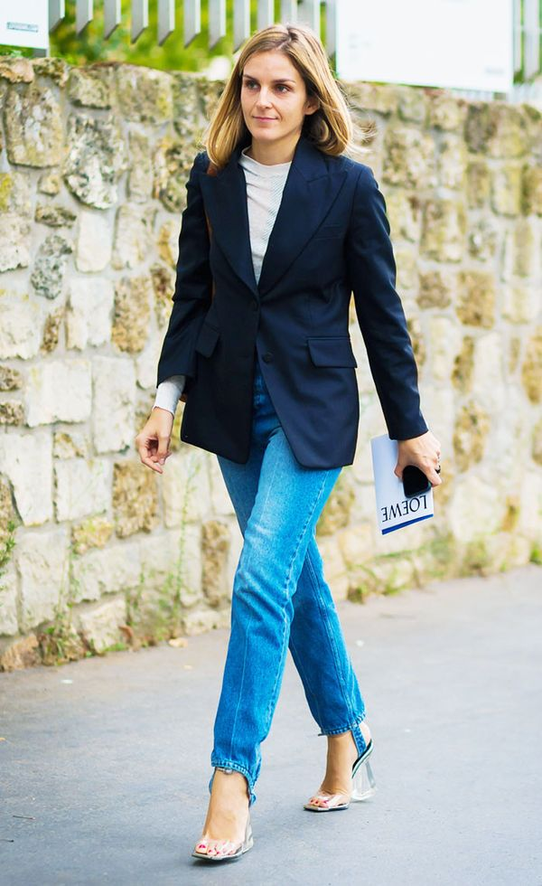Gaia Repossi took a blazer-and-jeans ensemble to another level with the introduction of a stirrup detail. Oh, and those PVC heels are a pretty amazing addition too.