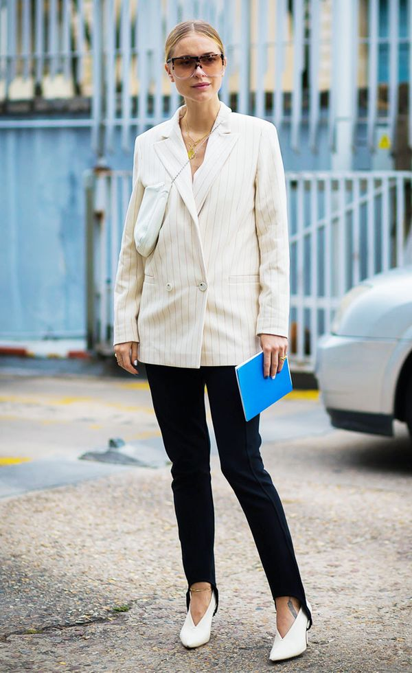 Accentuate your heels by fastening stirrup pants around them. Thanks for the tip, Pernille Teisbaek.