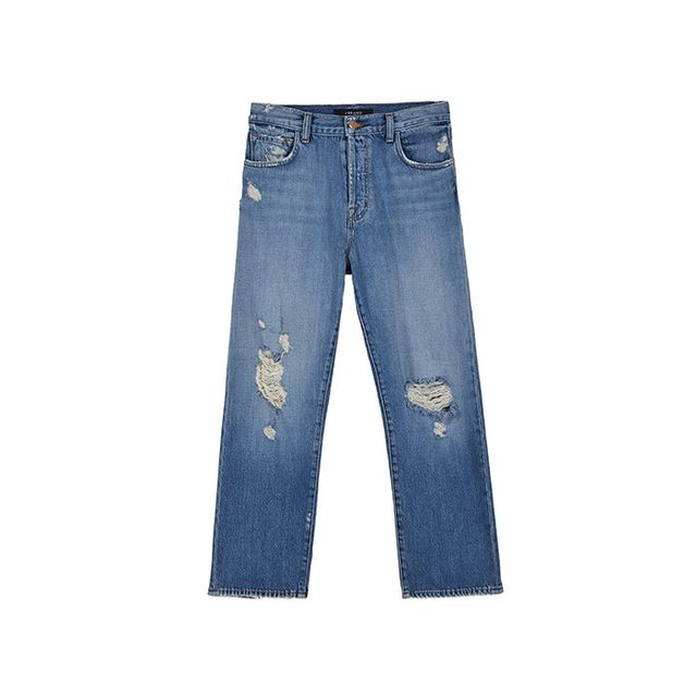 Pictured: J Brand IvyCropin Bleach Wrecked ($228) This style is a modern take on the trend, with its high rise and straight fit.