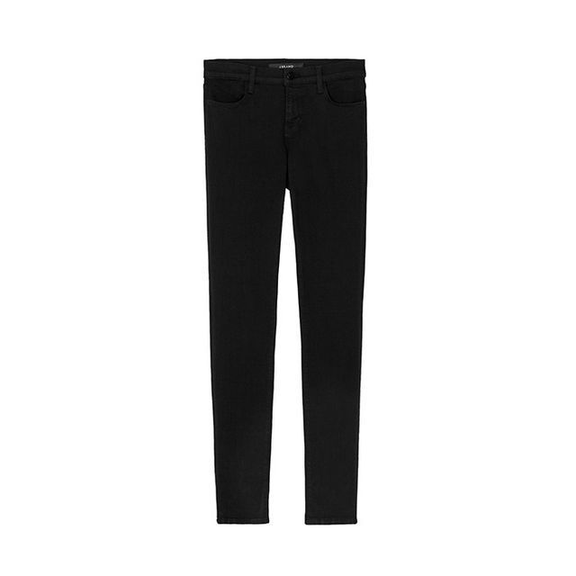 Pictured: J Brand 620 Mid-Rise Skinnyin Seriously Black ($198) Black skinnies: THE model-off-duty jeans of choice.