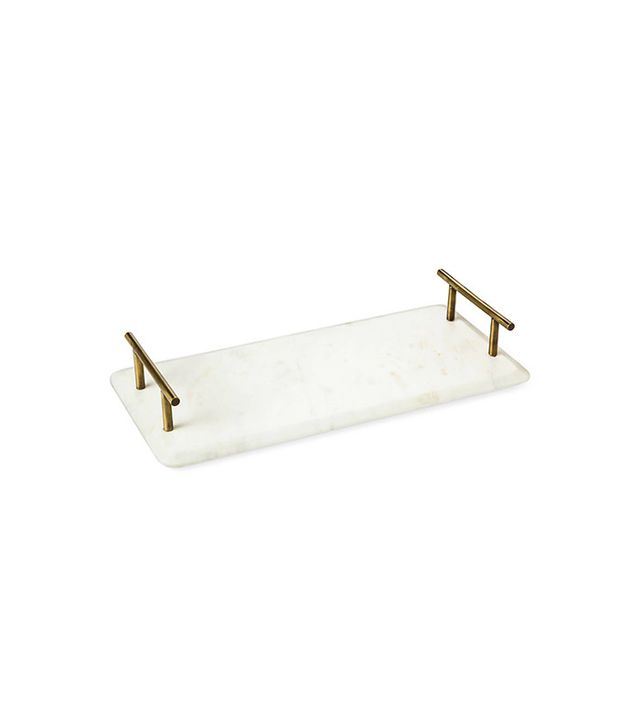 Threshold Marble Serving Tray With Brass Handles