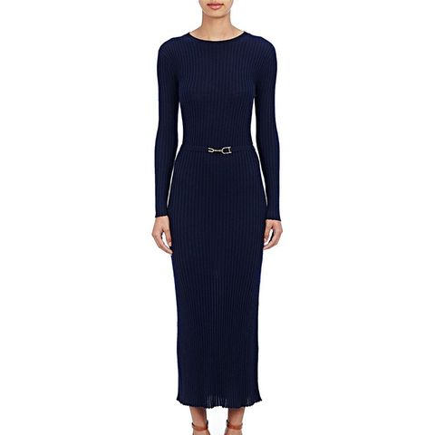 Long-Sleeve Ribbed Dress
