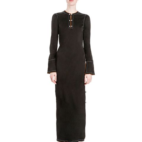Long-Sleeve Button-Side Maxi Dress in Black
