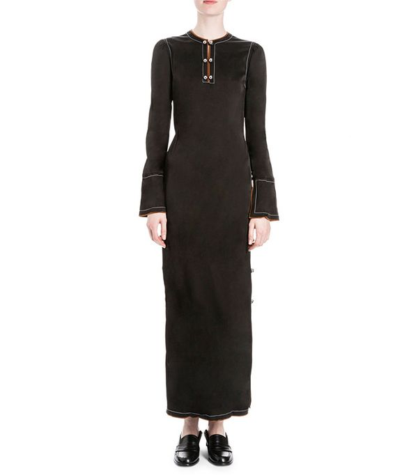 Loewe Long-Sleeve Button-Side Maxi Dress in Black