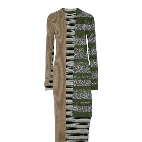 Stripped Ribbed Wool-Blend Dress