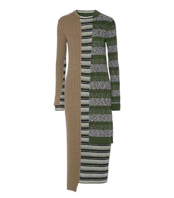 Maison Margiela Stripped Ribbed Wool-Blend Dress