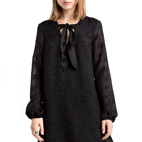 Star Print Babydoll Tie Dress