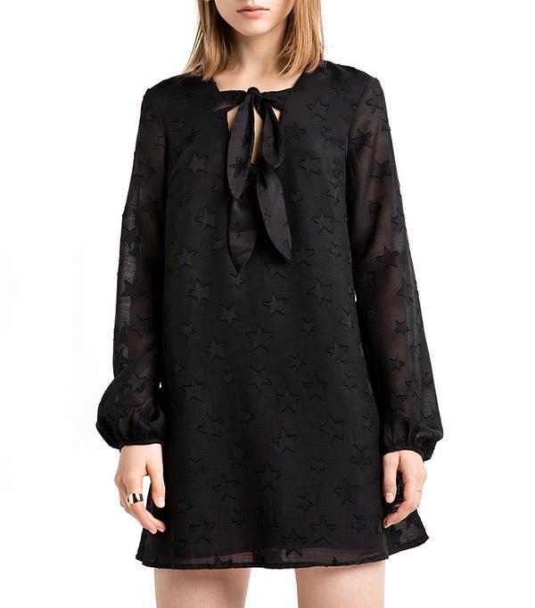 Pixie Market Star Print Babydoll Tie Dress