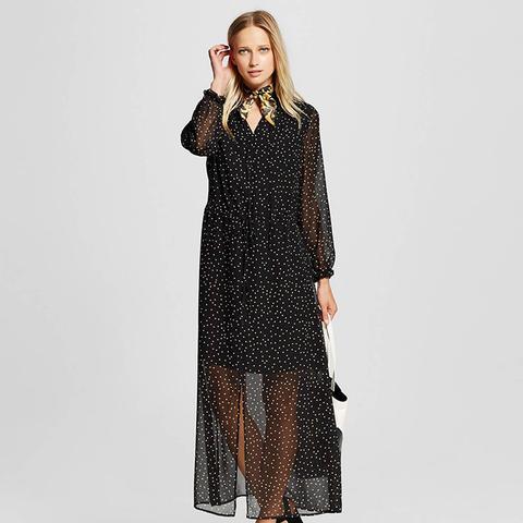 Women's Ruffle Neck Maxi Dress