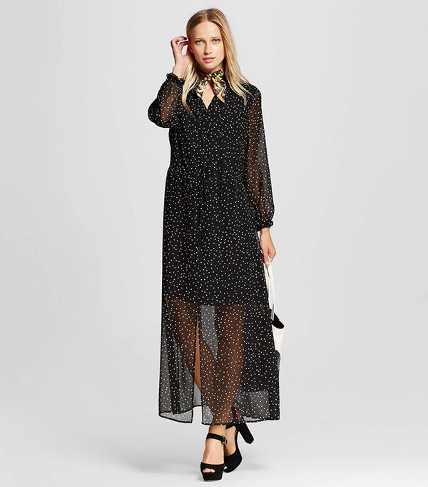 WhoWhatWear Women's Ruffle Neck Maxi Dress