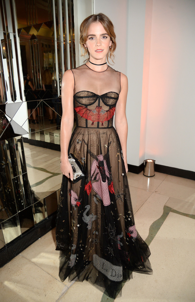 On Emma Watson: Dior dress. We are utterly batty for Emma Watson's straight-off-the-runway Dior number.