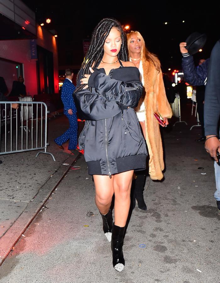 Rihanna Fenty Puma Off the Shoulder Bomber Jacket Halloween 2016