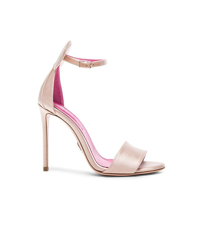Oscar Tiye Mini Satin Sandals in Skin