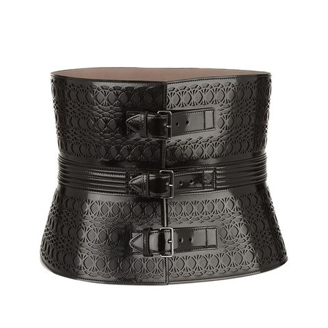 Laser-Cut Glossed-Leather Waist Belt
