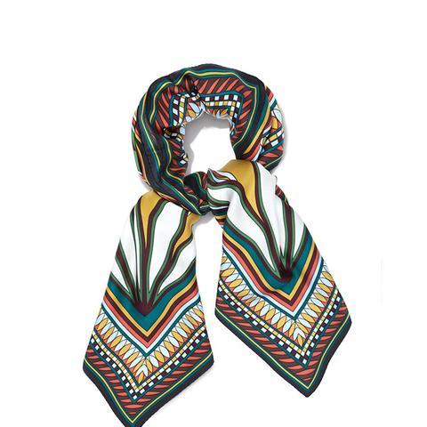 Deco Fan-Print Square scarf