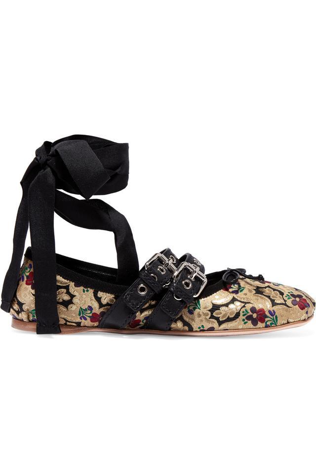 Miu Miu Lace-Up Leather Trimmed Brocade Ballet Flats