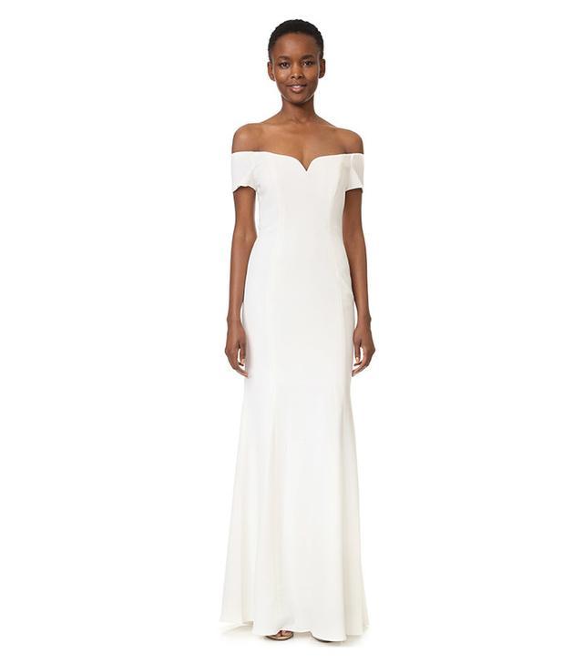 Badgley Mischka Collection Off-Shoulder Short Sleeve Gown