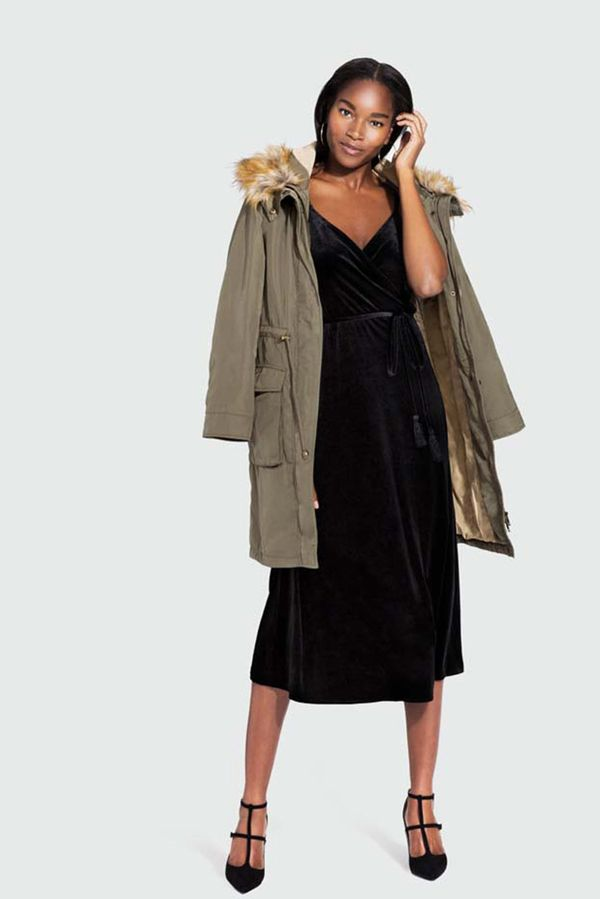 On Model: Who What Wear Velvet Wrap Slip Dress ($35); Who What Wear Satin Parka ($70).