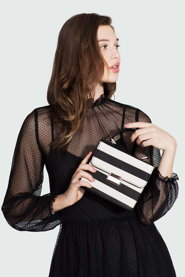 On Model: Who What Wear Striped Top Handle Bag ($30).