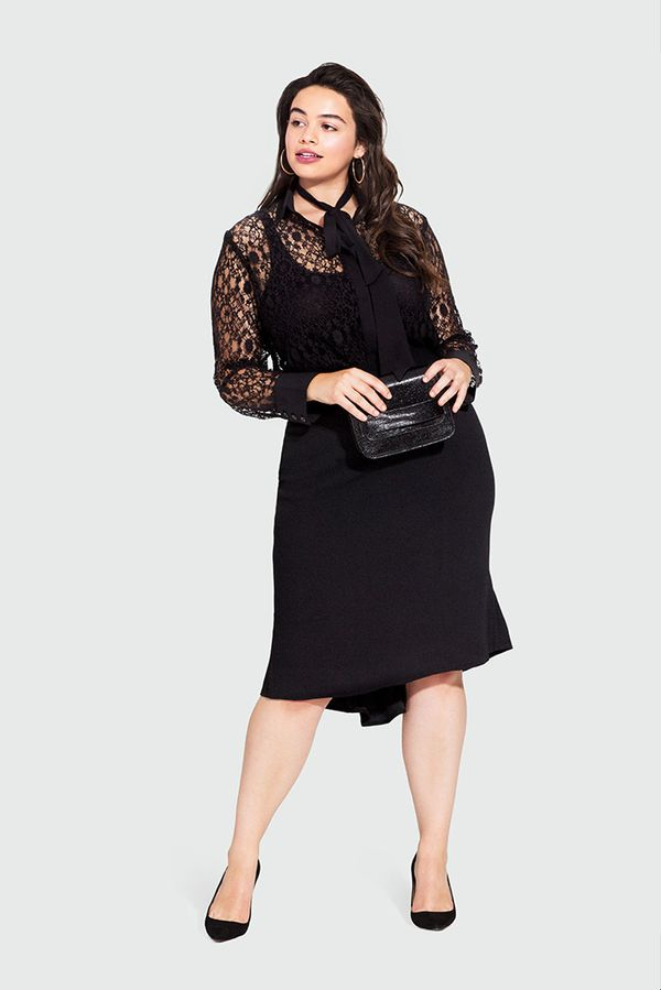 On Model: Who What Wear Lace Bow Blouse ($35); Who What Wear Peplum Back Pencil Skirt ($30); .