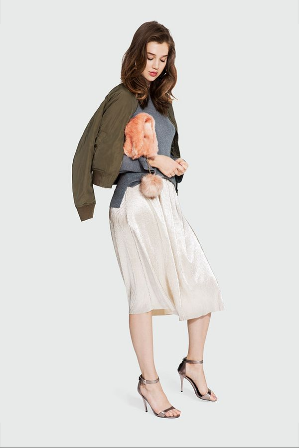 On Model: Who What Wear Satin Bomber Jacket ($40); Who What Wear Bell Sleeve Crew Sweater ($30); Who What Wear Micro Pleat Midi Skirt ($28); Who What Wear Fur Foldover...