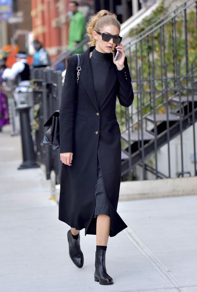Gigi Hadid in New York wearing coat for winter.