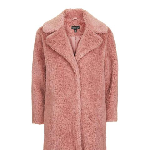 Pink Casual Faux Fur Coat