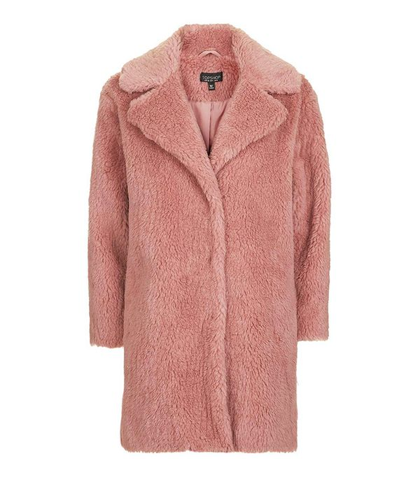 Topshop Pink Casual Faux Fur Coat