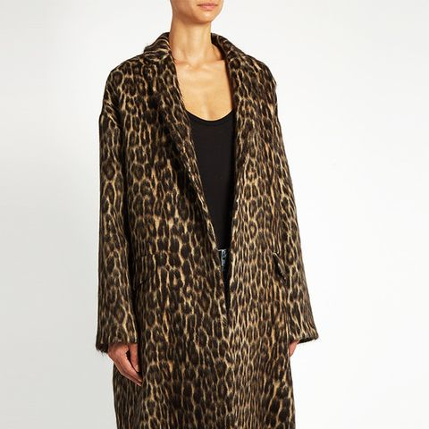 Leopard-Print Wool-Blend Jacket Coat