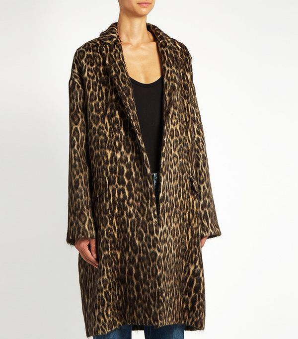 Raey Leopard-Print Wool-Blend Jacket Coat